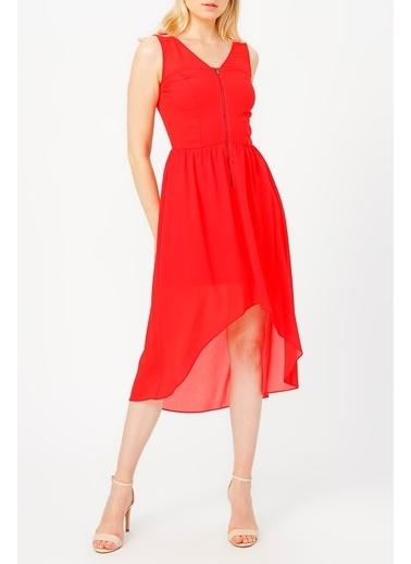 Random Kadın Fermuar Detaylı Asimetrik Kesim Elbise Kırmızı
